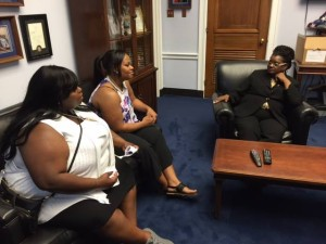 Melissa and Marquitta Smith talking to Congresswoman Gwen Moore